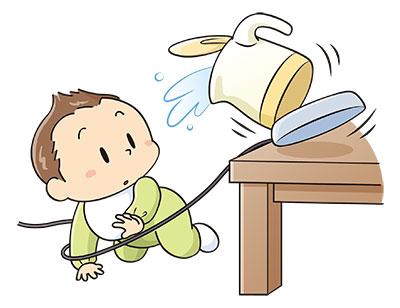 赤ちゃんのやけど。炊飯器、電気ポット。